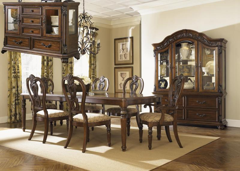 Dining Room Solid Mahogany Dark Brown With A Satin Sheen Hand Carving Four Corner Leg Table Extends Out To 9 Feet10 Matching Carved Chairs Two Arm