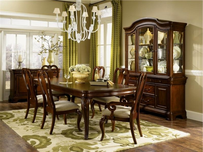 All Solid Cherry Dining Room Set, Table With Two Leave Extensions Extends  To 96 Inches With 8 Chairs (2 Arm And 6 Side Chairs), Two Piece China  Cabinet With ...