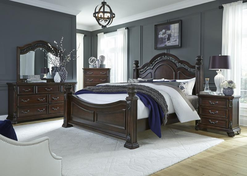 queen bedroom includes all mahogany boardrails slatstwo mounted mirrorlight distressing and metal fret work