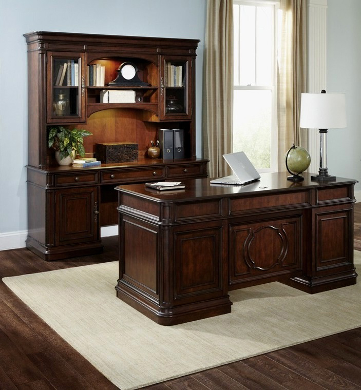 Traditional Desk Credenza And Hutch Updated With All The Modern Conveniences Wire Management Drop Down Keyboard Lighted Filing System Lock
