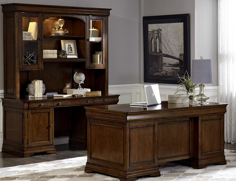 Cherry Executive Style Desk Credenza And Lighted Display Cabinet Like New Retails For More Barely Used