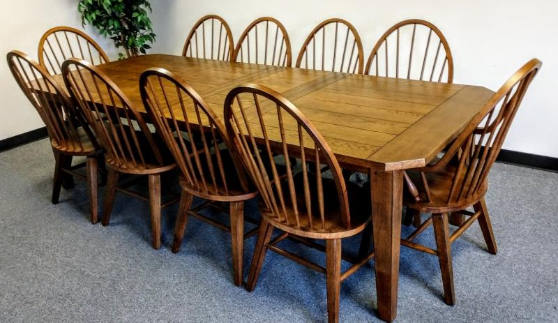 Solid Oak, Medium Intentional Distressing Country Style, Rectangular 4 Leg  Table That Comfortably Seats 10 With The Two 18 Inch Leaves For The Table.