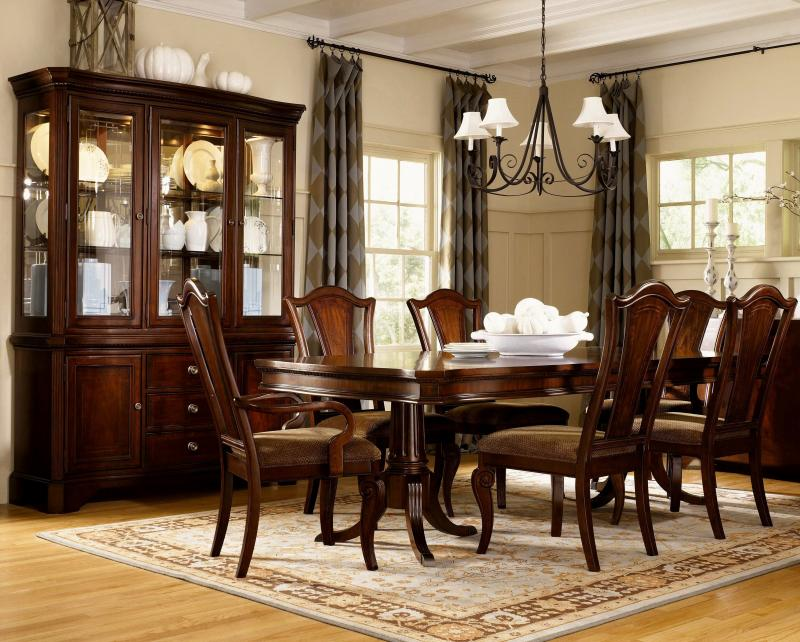 Dining Mahogany Double Pedestal Table,Two Leaves, Pedestals Have Metal  Tips, Eight Side Chairs, Two Arm Chairs, 2 Piece Touch Lighted China  Cabinet, ...