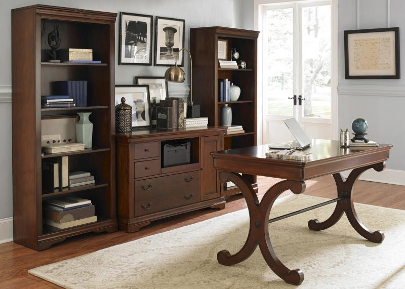 Fontaine Cherry Wood Home Office Desk And Credenza $1625