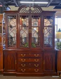 Queen Anne Server, Large China Cabinet, Two Pedestal Table With Matching  Leaves, Eight Matching Chairs As Pictured.